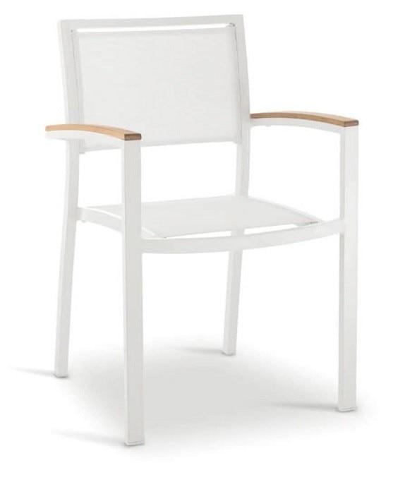 Armchair KOS, Aluminium, White, Textilene White