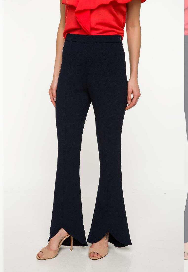 DeFacto Fashion Woman Office High Waist Trousers Casual Solid Elastic Loose Flare Pants Autumn Female - I9925AZ18SP