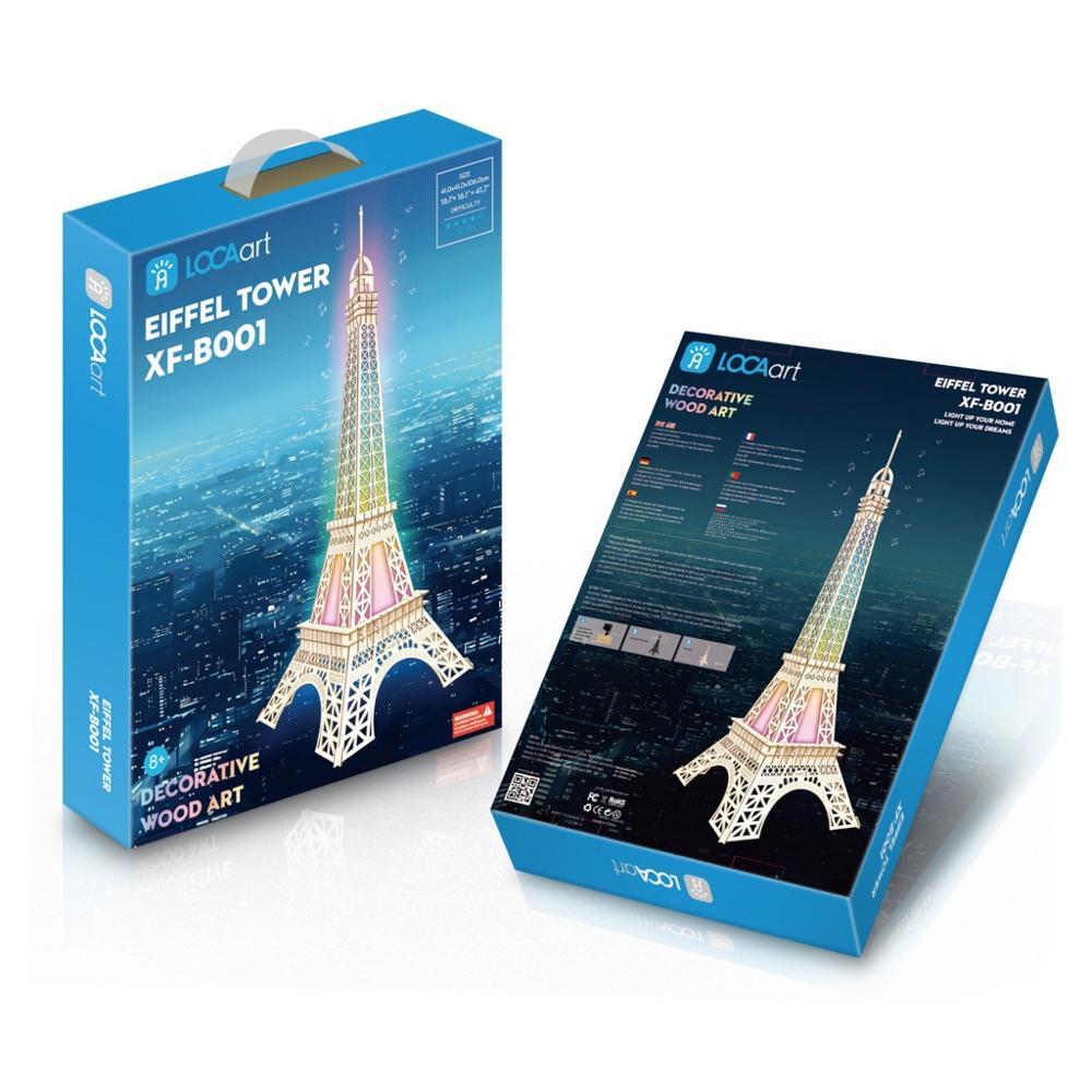 Bricolage en trois dimensions puzzle garçon bricolage jouets faits à la main en bois puzzle lumières colorées de la tour de Paris (groupe B) modèle 3d - 2