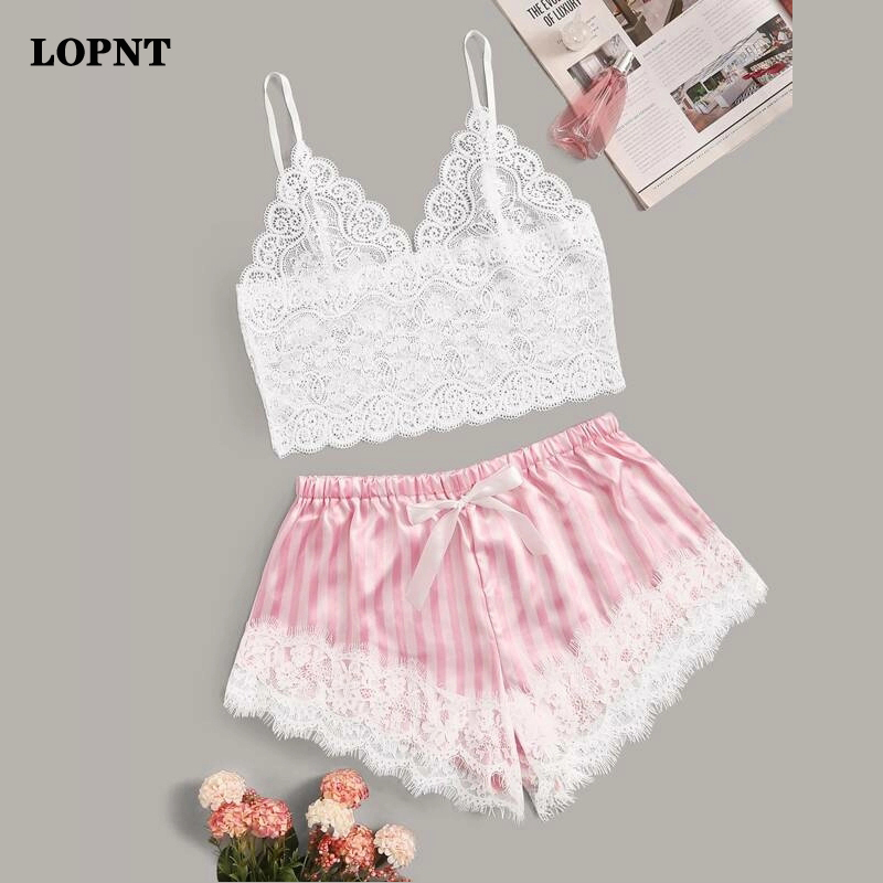 Lopnt Women Sleepwear Sleeveless Strap Nightwear Lace Trim Satin Cami Top Pajama Sets Femme Sexy Lingerie Pyjamas V-neck Pj Set