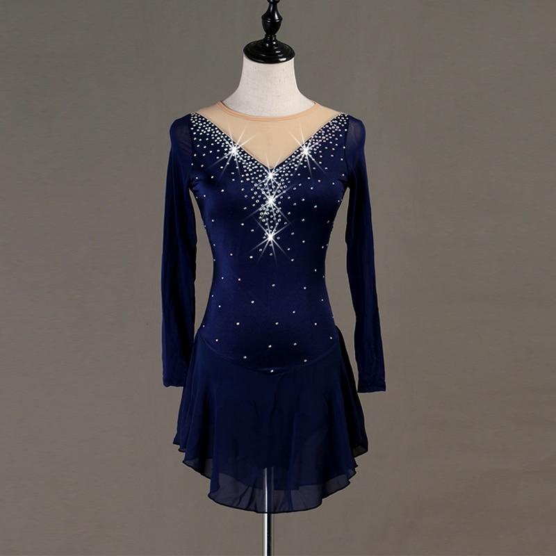 Figure Skating Dress Women Girl Ice Skating Dress Long-sleeved  Gymnastics Costume Custom B019