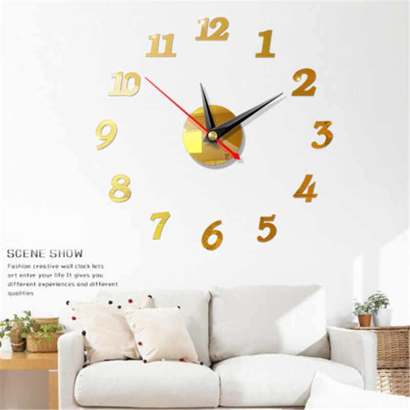 Nowoczesny duży zegar ścienny 3d lustro naklejki unikalne duże cyfry zegarek Diy wystrój artystyczny zegar ścienny naklejka naklejka nowoczesna dekoracja domu