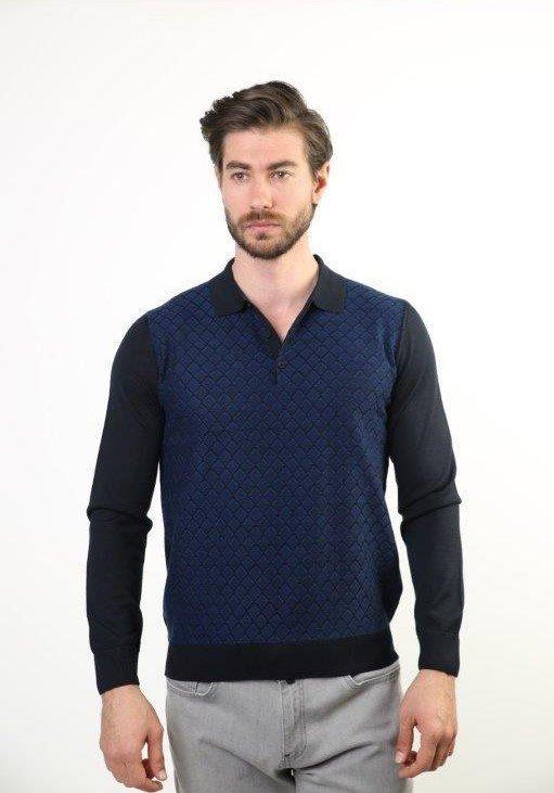 Sweater Polo Collar Male Ultra-Thin Wool Knitwear Sweater 2199