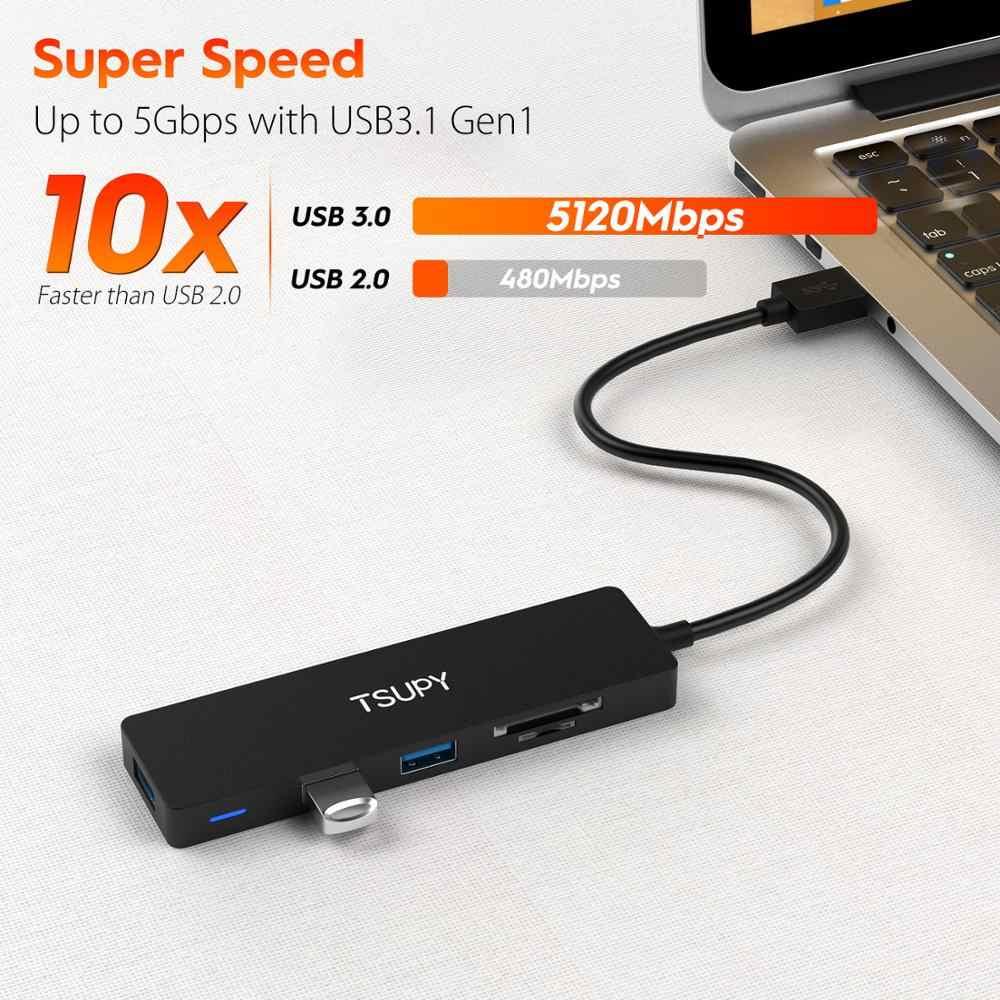 TSUPY ضئيلة حجم USB Hub USB 3.0 إلى SD TF قارئ بطاقات + 3 USB 3.0 Hub ل HP لينوفو آسوس ماك بوك اير PC ملحقات للكمبيوتر المحمول