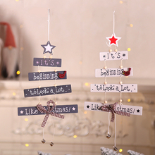 Christmas Tree Wooden Pendant White/Gray Hanging Ornament Door Decoration Party Holiday Home Decorations