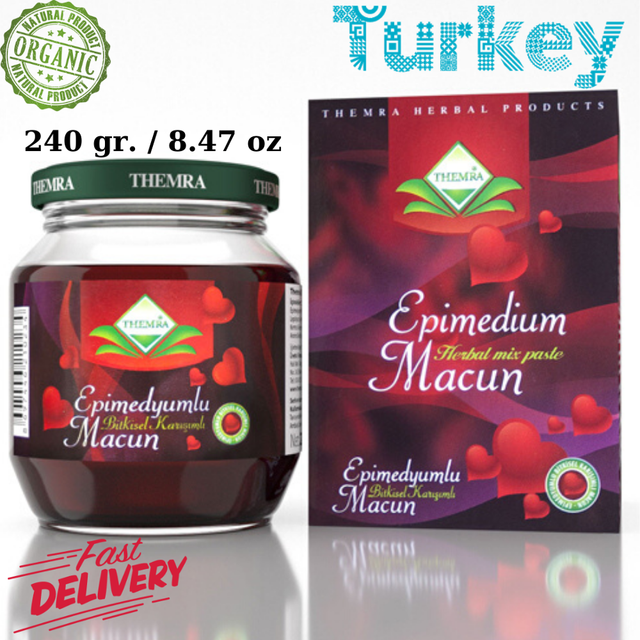 Themra Epimedium Turkish Honey Mix Macun Horny Goat Weed Ginseng Herbal Aphrodisiac– Turkish Paste, 240gr., %100 Halal 1
