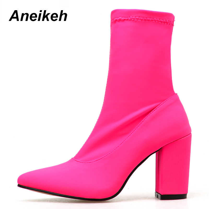 Aneikeh Sexy Women's Boots Pointed Toe Yarn Elastic Ankle Boots Thick Heel High Heels Shoes Woman Female Socks Boots 2020 Spring