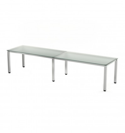 OFFICE TABLE DOUBLE EXECUTIVE SERIALS (2 POSTS) 360x80 CHROME/CRYSTAL