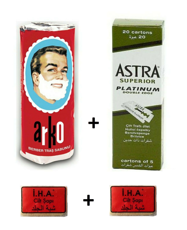 100 Astra Üstün Platin Çift Kenar Yan tıraş bıçağı + Arko Tıraş Sabunu + 2 Adet İHA Şap