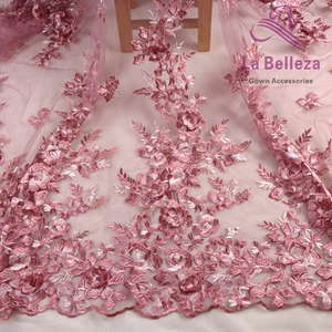 La Belleza new design lace ,pink 3D flowers lace fabric,Blue,wine 3D flowers lace fabric evening dress lace fabric 1 yard(China)