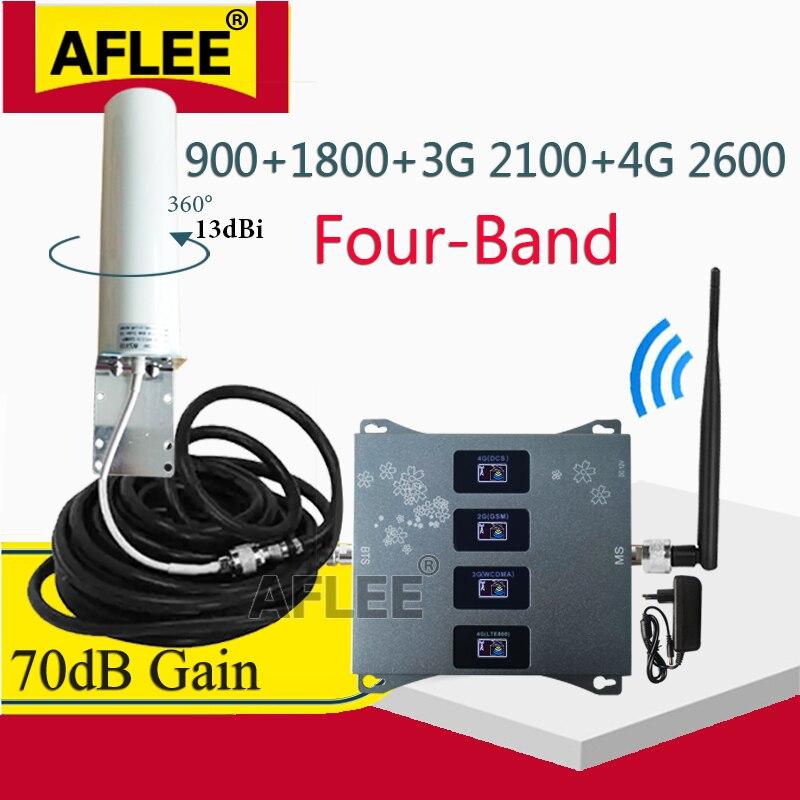 Reteater 2G 3G 4G Quatro-Band GSM 900 1800 2100 2600mhz 2g 3g 4g Rede 4G Celular Móvel Signal Booster Amplificador DCS WCDMA LTE