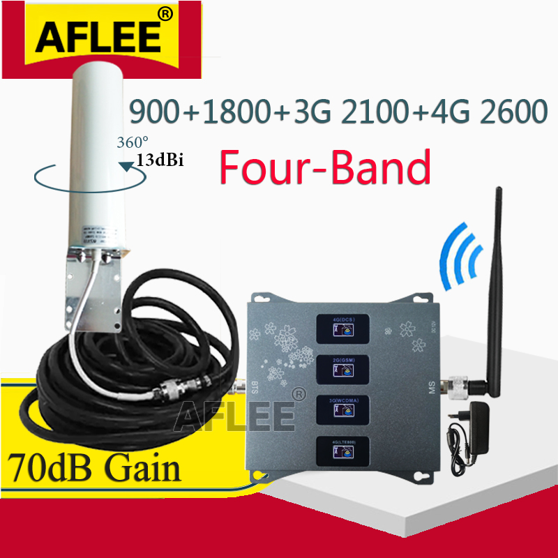 Reteater GSM 2G 3G 4G Four-Band 900 1800 2100 2600mhz 2g 3g 4g Network Mobile Signal Booster 4G Cellular Amplifier DCS WCDMA LTE
