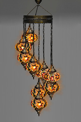 Braun 9 Ball Türkische Handarbeit Mosaik Kronleuchter  türkische mosaik  multicolor mosaik kronleuchter -in Kronleuchter aus Licht & Beleuchtung bei title=