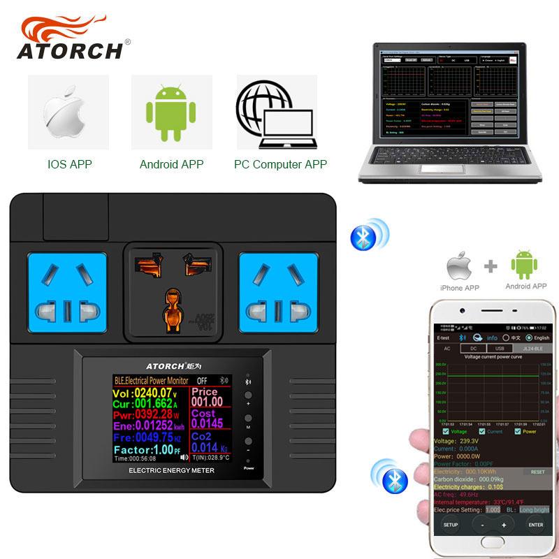 Программируемая розетка ATORCH с цифровым дисплеем, 85 ~ 265 В переменного тока