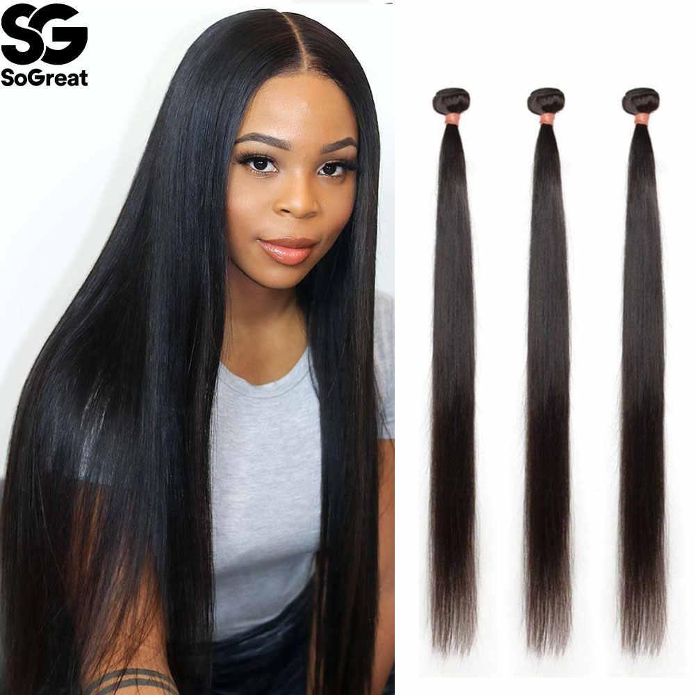 Permeabilidad Tina Latón  Mechones rectos de 28 a 30 pulgadas, extensiones de cabello virgen  brasileño, extensiones de cabello 3 a 4 mechones, extensiones de cabello  humano mechones| | - AliExpress