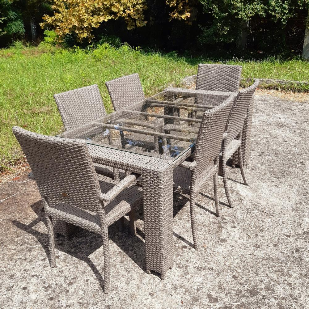 Large Artificial Rattan Dining Set, 180 Cm Long Table And 6 Chairs With Armrest On The Terrace