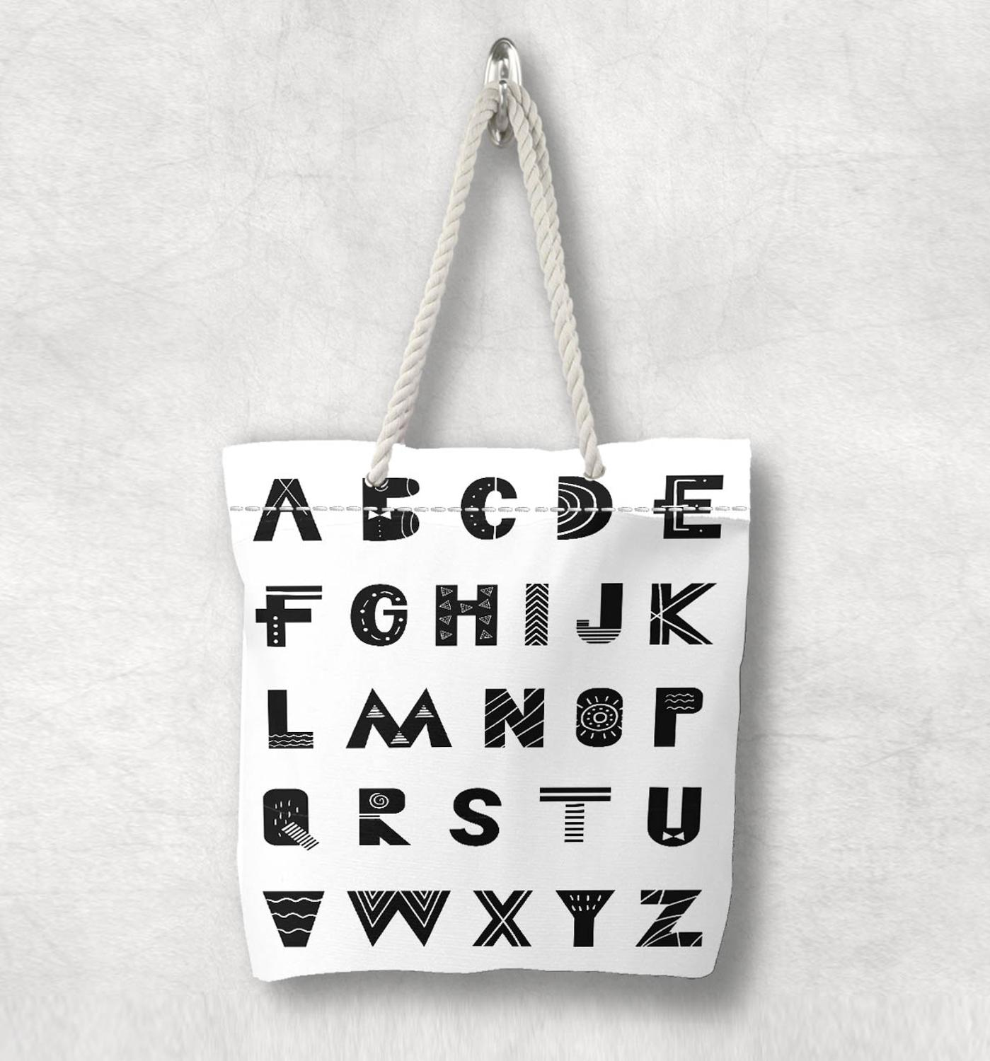 Else Black White Educational Alphabet Letter Nordic White Rope Handle Canvas Bag  Cartoon Print Zippered Tote Bag Shoulder Bag