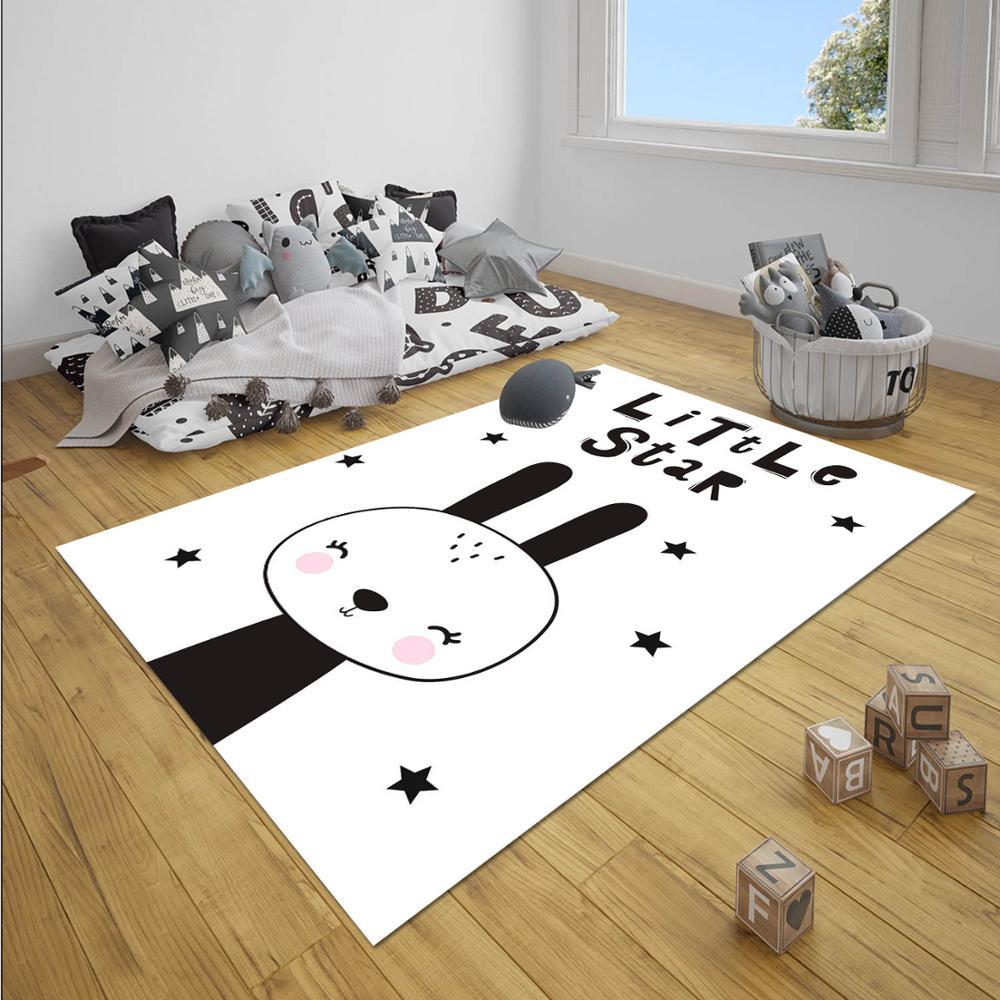 Else Black White Little Star Rabbit  Animals Girl 3d Print Non Slip Microfiber Children Baby Kids Room Decorative Area Rug Mat