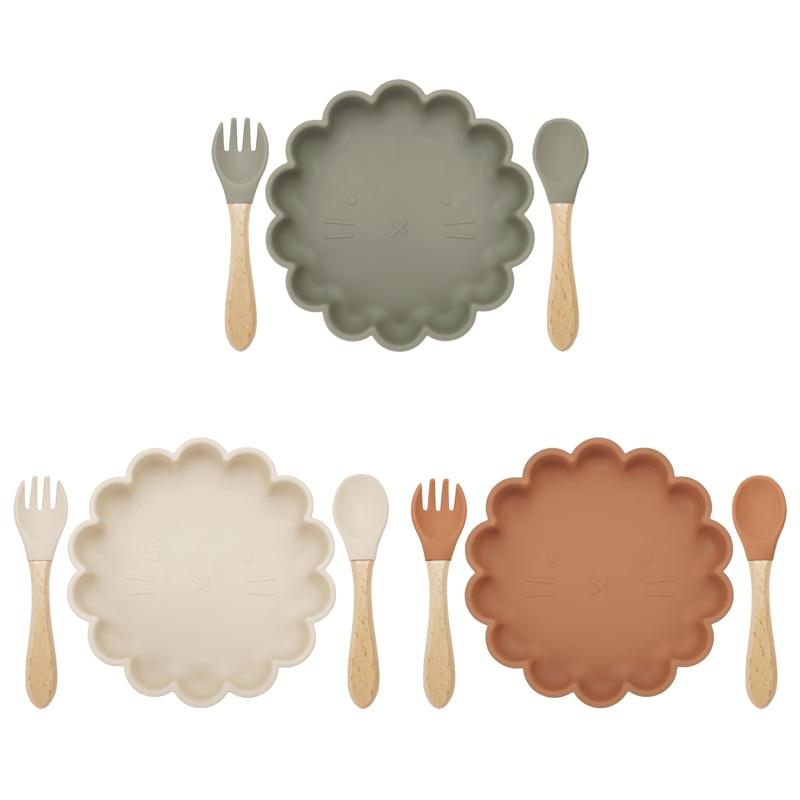 Комплект из 3 предметов, Детская тарелка ложка Вилка питания Еда набор посуды для кормления Еда Класс силиконовый нескользящий цветок Форма...