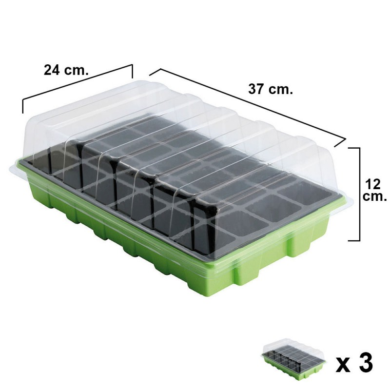 Seedling Germination Greenhouse 24 Compartments With Tray Anti Drip Sets 3 Piece