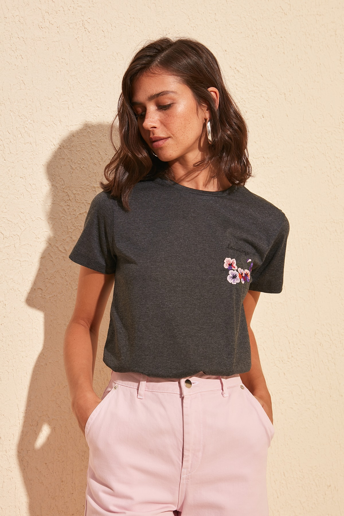 Trendyol Embroidered Basic Knitted T-Shirt TWOSS20TS0486