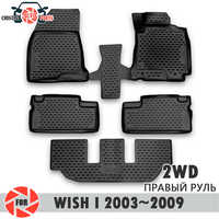 Floor mats for Toyota Wish I 2003~2009 2WD rugs non slip polyurethane dirt protection interior car styling accessories
