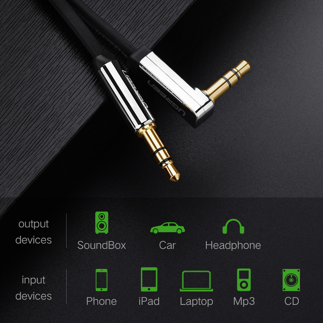 UGREEN 3.5mm Audio Cable Stereo Aux Jack to Jack Cable 90 Degree Right Angle Auxiliary Cord Male to Male For PC Speaker Cable