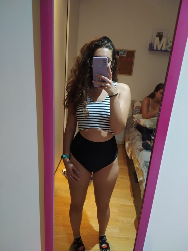 Striped Cut Out One-Piece Swimsuit for Women photo review