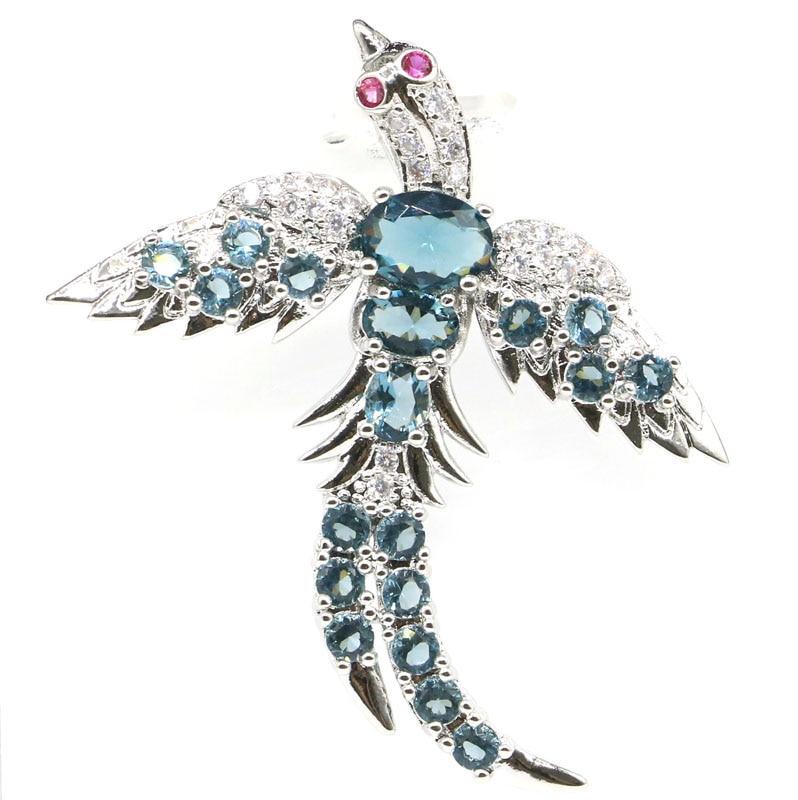 48x43mm Fancy Phoenix Shape Created Dark London Blue Topaz White CZ Gift Silver Pendant