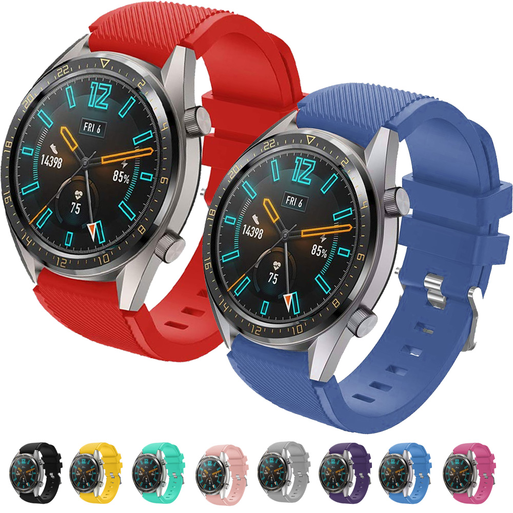 Correas pulsera de recambio para Huawei Watch GT 2 / Honor Magic Watch 2, 42 y 46mm silicona flexible de colores cierre de metal-0