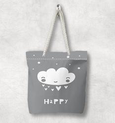 Else серая белая холщовая Сумка Happy Cloud Stars Скандинавская белая веревочная ручка сумка на молнии с мультипликационным принтом сумка на плечо