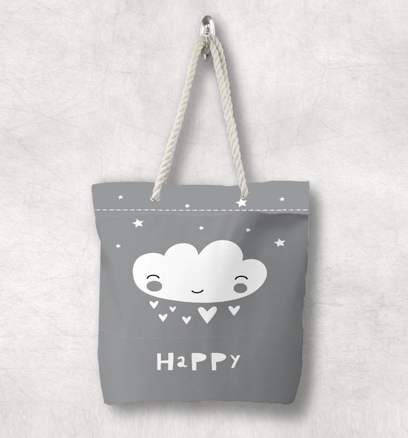 Else Gray White Happy Cloud Stars Nordic Scandinavian White Rope Handle Canvas Bag  Cartoon Print Zippered Tote Bag Shoulder Bag