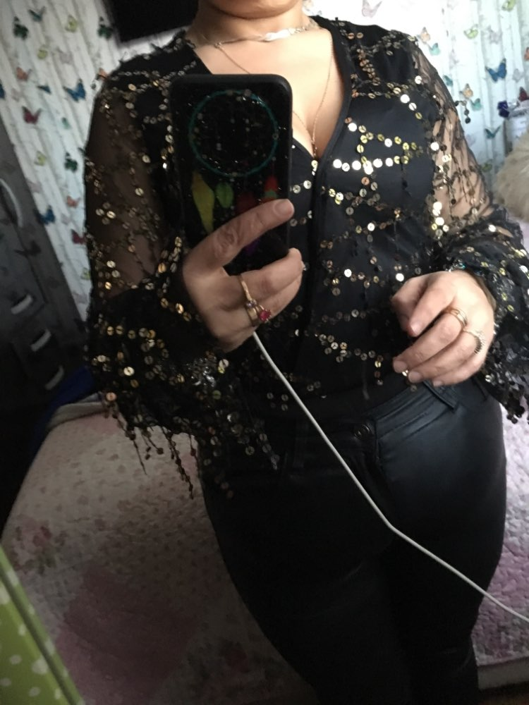 Sexy Black Gold Sequins Jumpsuit Summer Bodysuits Women Body Long Sleeve Leotard Sequined Night Clubwear Embroidery Party Romper photo review