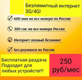 Безлимитный интернет 250 руб/месяц 4G/3G + раздача 600 мин в России SMS Sim-карта Билайн