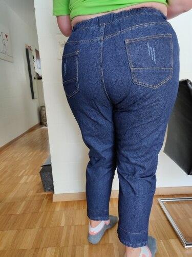 Plus Size Elastic Waist Hemming Boyfriend Loose Ripped Denim Harem Jeans 4xl 5xl Light Blue Girl S Casual Pants For Women Jeans Aliexpress