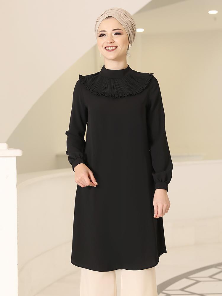 Women Muslim Tunic Shirt Blouse High Quality Crepe Fabric Turkish Made Design Product Pleat Neck Long Islamic Hijab Clothing Eid