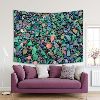 Tapestry Rocks in Stream Bed Colorful Abstract Beauty of Array Glacier National Park Montana Photo Green Blue Gray