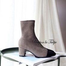 купить BHS 9011176 Chic Genuine Cow Suede Elegant 5.5CM Chunky Heel Stilettos Round Toe Leather/Plush Insole Women Fashion Boots дешево