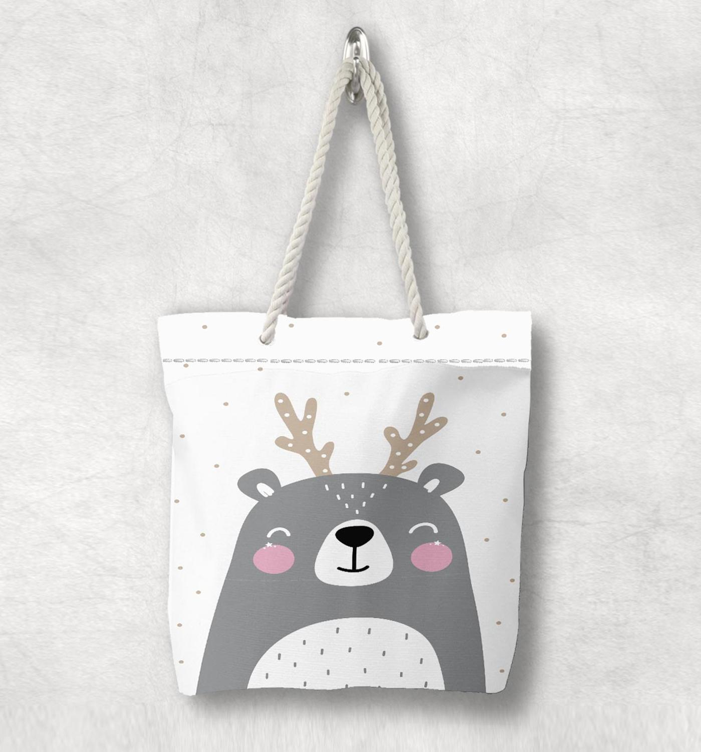 Else Gray White Pink Deer Cute Animals Scandinavian White Rope Handle Canvas Bag  Cartoon Print Zippered Tote Bag Shoulder Bag