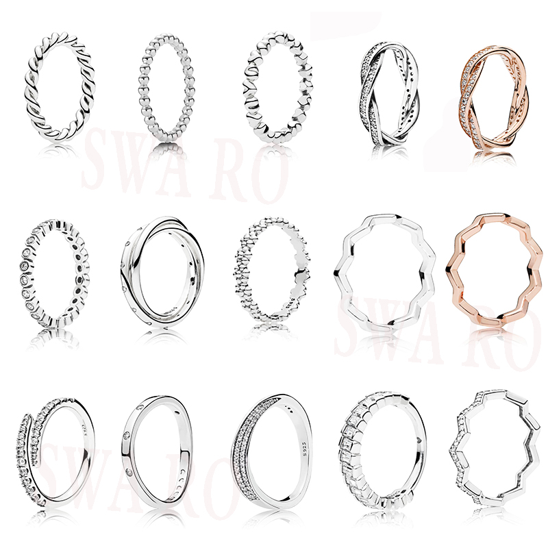 High Quality Classic S925 Bright Braided Lines, Polished Zigzag, Basic Bubble Silver, Shooting Star, Sparkling Ice Cube Ring