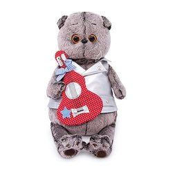 Soft toy Budi Basa Kat Basik in vest met een gitaar, 22 cm