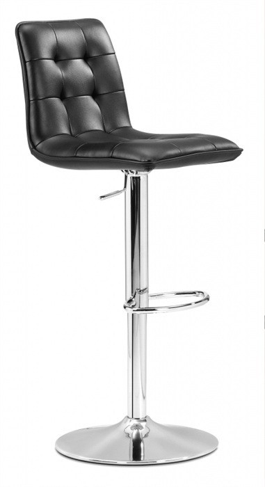 Stool DESIRE (L), Chrome, Upholstered Black