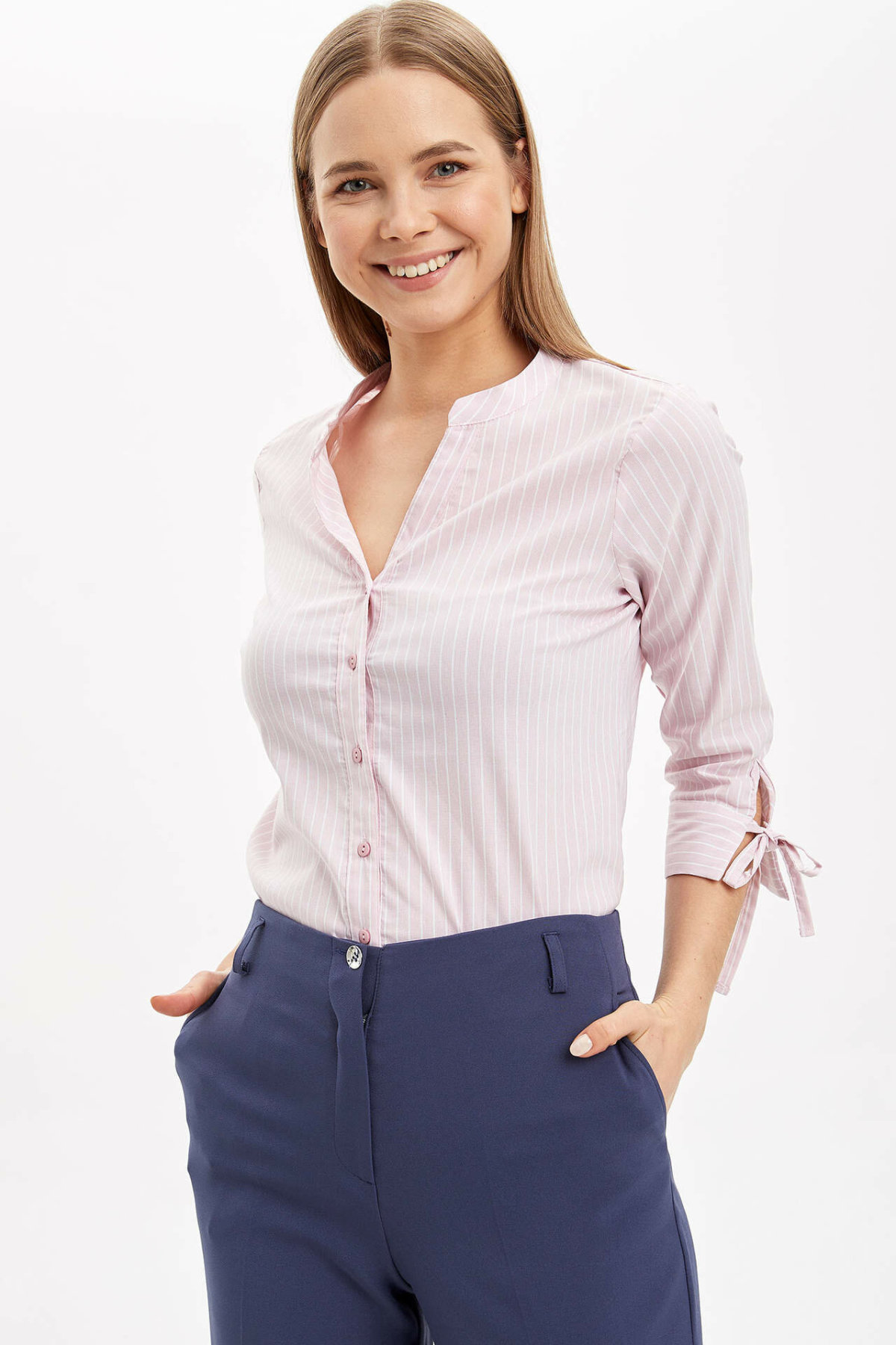 DeFacto Spring Woman Basic Color Shirts Women Mid-Sleeve Floral Prints Shirt Women Pink Blue Grey Shirts-I5280AZ20SP