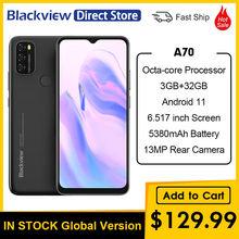 Blackview a70 6.517 Polegada 3gb ram 32gb rom 5380mah bateria 13mp câmera traseira octa-core android 11 magro e luz 4g telefone móvel