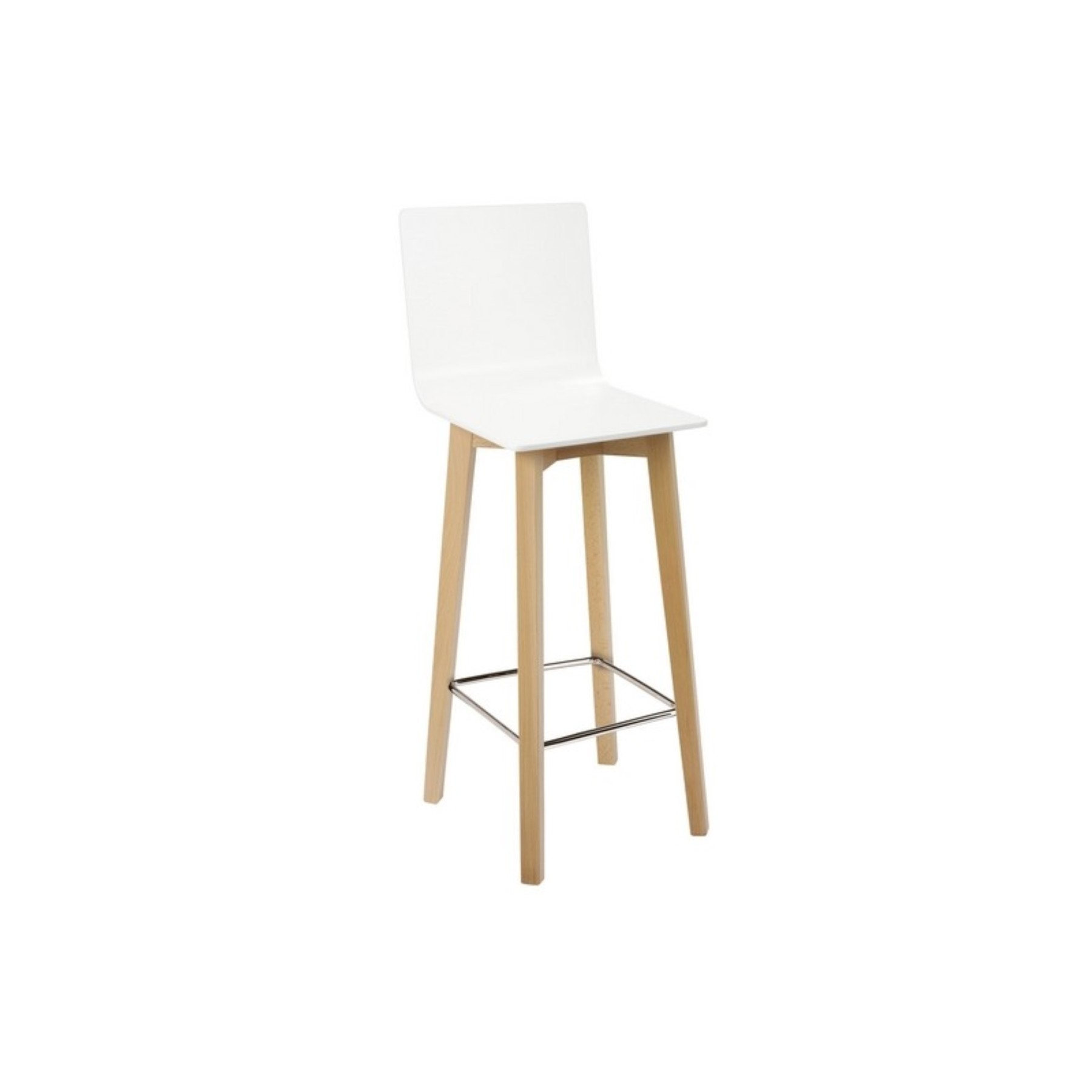 Beech's Stool Shimmer With Wooden Feet And Hoop Chrome-up Seat Monocarcasa In Beech Lacquered White Color TAPHOLE AND C