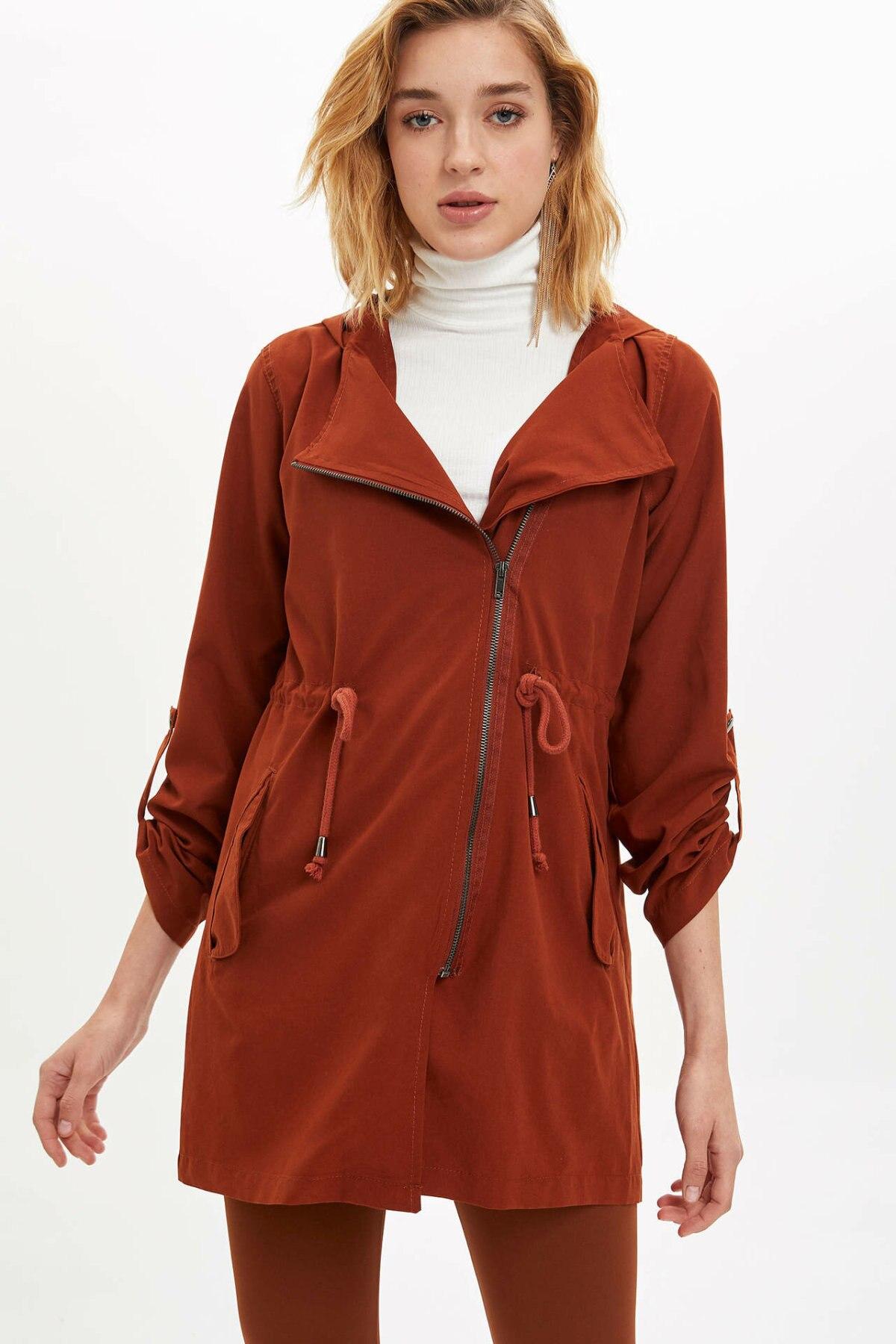 DeFacto Fashion Woman Hooded Light Parka Jackets Lace-up Solid Zipper Pockets Coats For Women's Casual Jacket Ladies-L8529AZ19AU