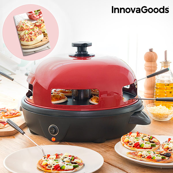 InnovaGoods Mini Pizza Oven With Presto Cooker 700W Stainless Steel Modern And Functional Includes 5 Stainless Steel Spatulas