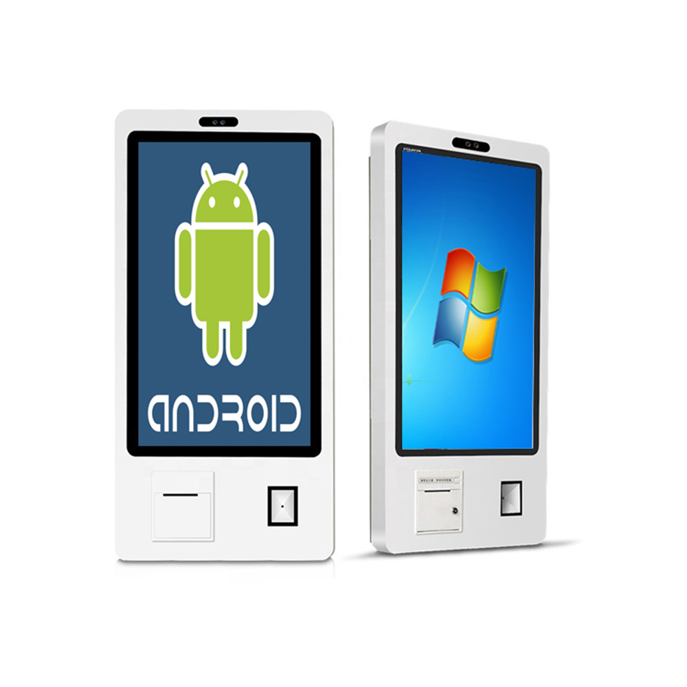 27 Inch Wall Mounted Windows Or Android Self-order Service Kiosk Printer/barcode Reader Included, Card Reader Slot Optional