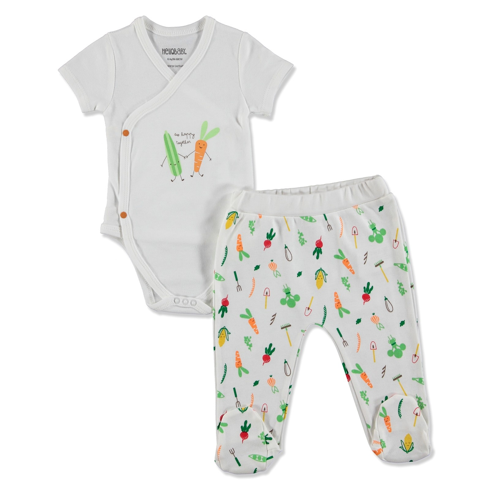 Ebebek HelloBaby Summer Baby Sweet Vegetables Bodysuits Footed Pants Set