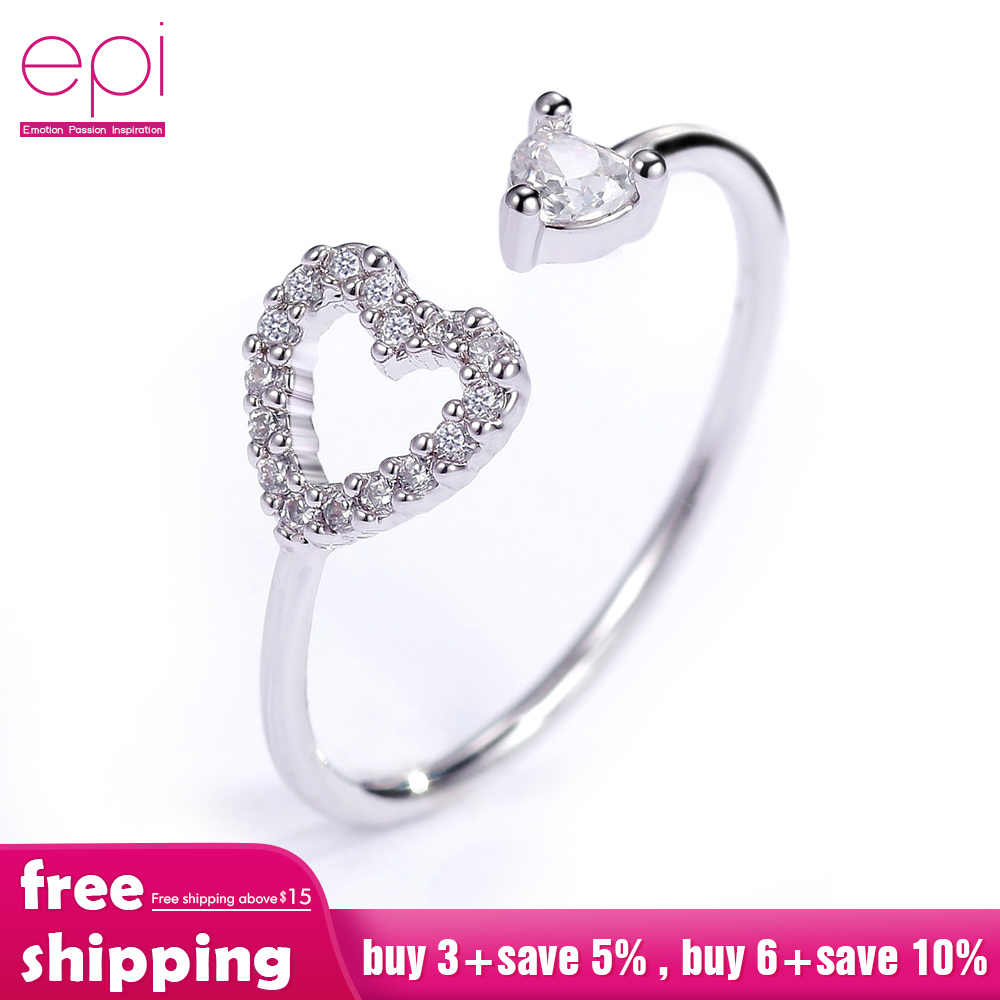 Mode réel cubique Zircon Style coréen mariée en forme de coeur anneaux ouverts avec perle pour les femmes fille mariage anniversaire bijoux cadeau